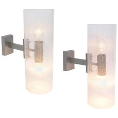 Pair of Italian Sconces in Controlled Bubble Glass and Silvered Metal
