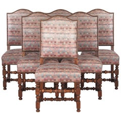 Set of 6 French Louis XIII Style Upholstered Walnut Chairs, 1920s