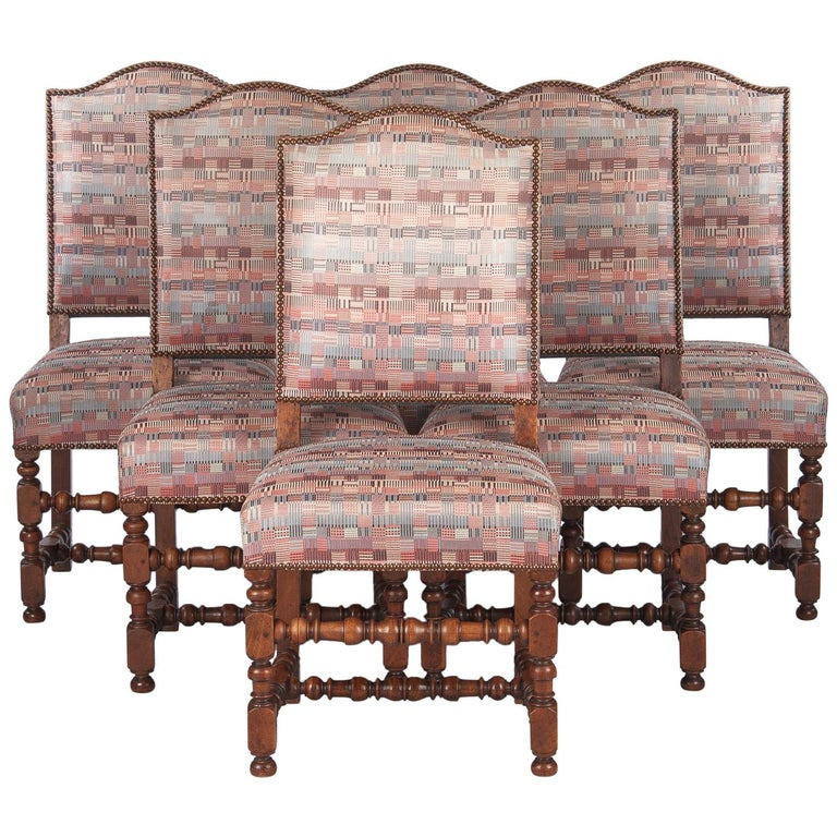 Set of 6 French Louis XIII Style Upholstered Walnut Chairs, 1920s For Sale