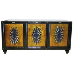 Fine Black Lacquer and Églomisé Glass Front 3-Door Credenza, Tony Duquette