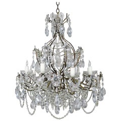 Eight-Light French Crystal Beaded Chandelier with Flowers