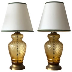 Pair of Large-Scale Glass Lamps Italy, 1950s