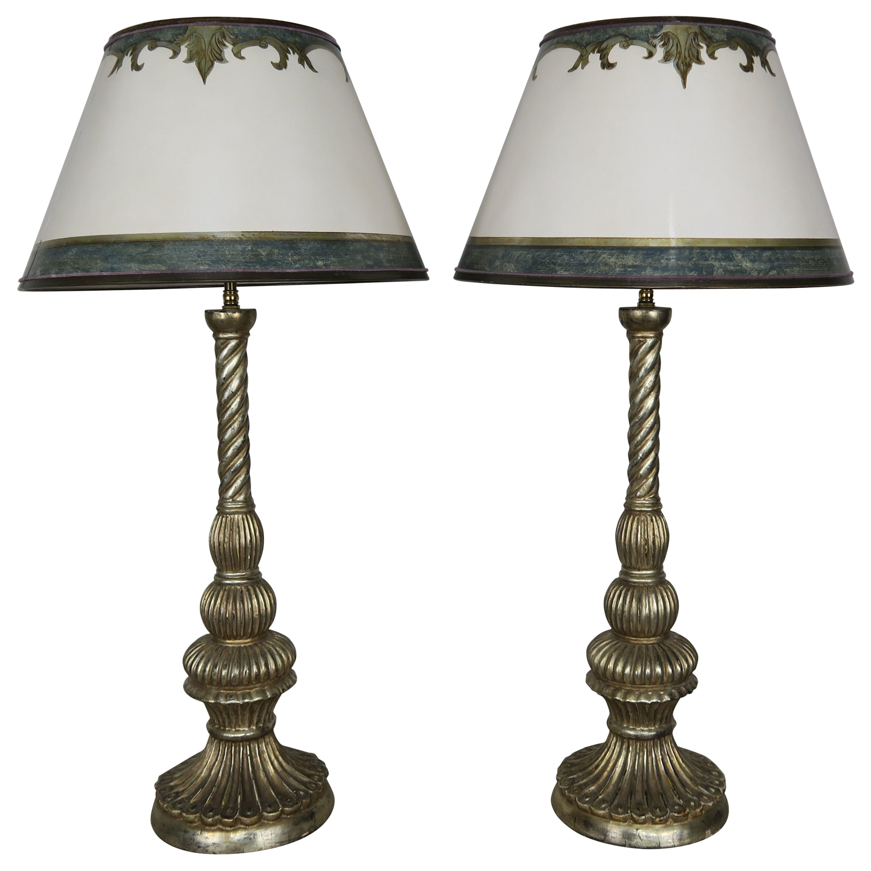 Pair of Carved Italian Borghese Lamps with Parchment Shades