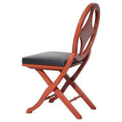 Pinto Paris Madeira Folding Chair Red with Black Cushion, Made in France