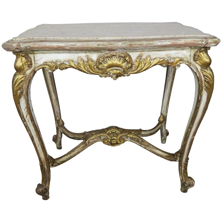 19th Century French Louis XV Painted and Parcel-Gilt Table with Marble Top For Sale