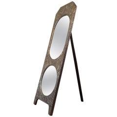 Art Nouveau Brass Repoussé Freestanding Mirror