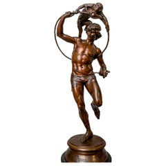 19th Century Bronze Statue of a Circus Act by F. Rolard
