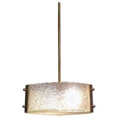 French Art Deco Era Full Glass and Brass Pendant Lamp