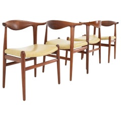 Set of Four Hans Wegner Cow Horn Chairs in Teak and Rosewood