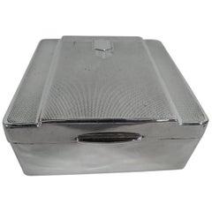 Stylish English Art Deco Modern Sterling Silver Box