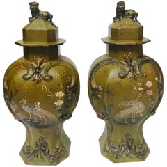 Pair of Rare Biedermeier Lacquered Berlin Faience Garniture Vases and Covers