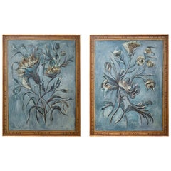 20th Century Hand-Painted Decorative Floral Panels, a Pair