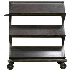 Large Vintage Heavy Metal Industrial Shelve Rolling Store Display Stand