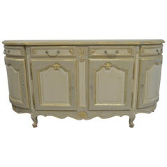 Louis XV Style Large Painted Buffet, Four Drawers and Storage Compartments