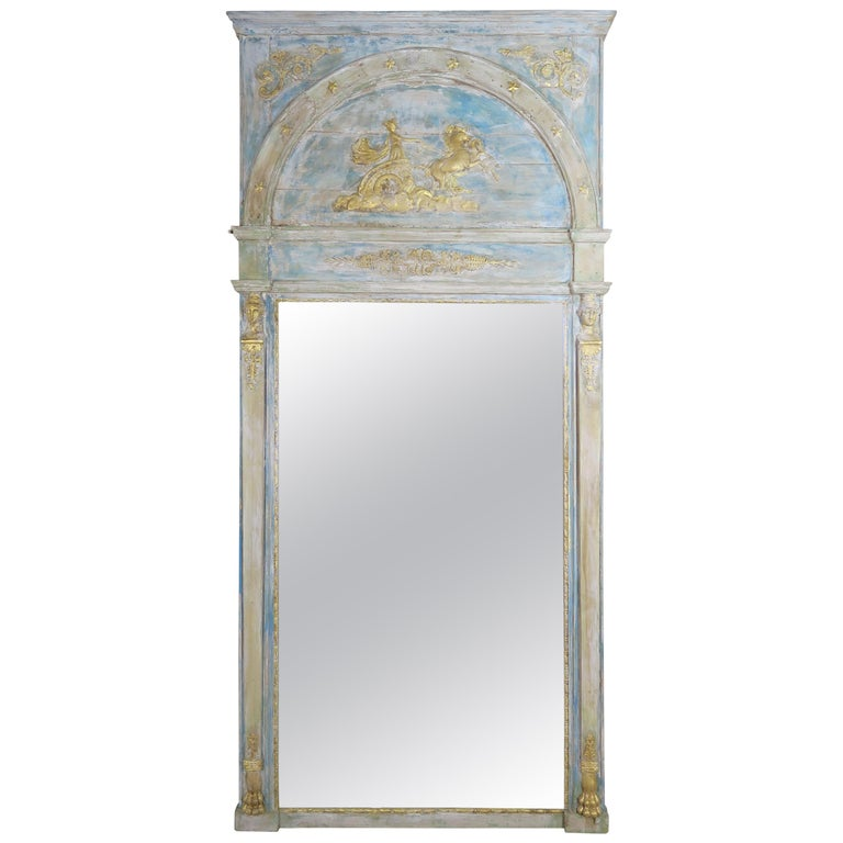 Roman Classical Style Painted Mirror with Chariot and Horses For Sale