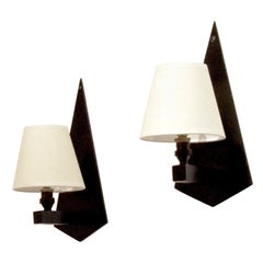 Art Deco Wall Sconces in Black Wood and Textile, Set of 2, 1930s