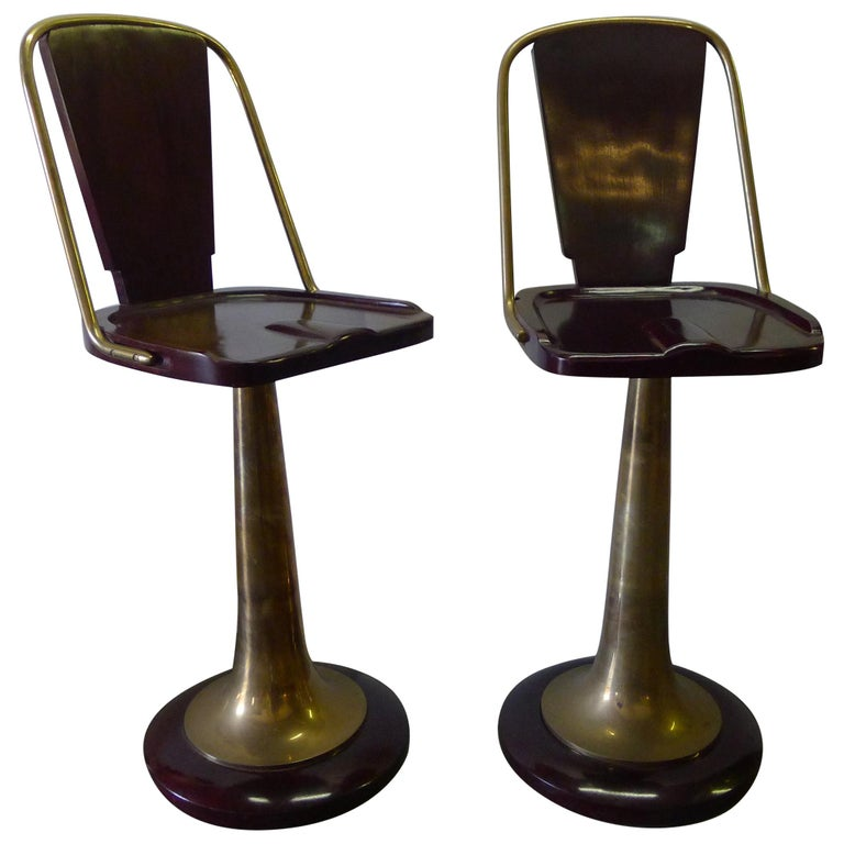 Bar Stools Pair of Swivel Yacht Style For Sale