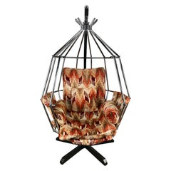 Original 1970s Swedish Parrot Chair, Hanging Birdcage by Ib Arberg 'Arborg