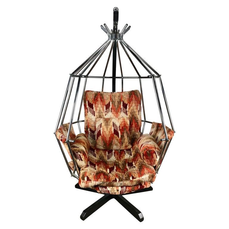 Original 1970s Swedish Parrot Chair, Hanging Birdcage by Ib Arberg 'Arborg For Sale