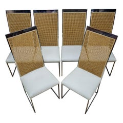 Six 1970s Milo Baughman High Back Cane Chrome Dining Chairs Postmodern Vintage