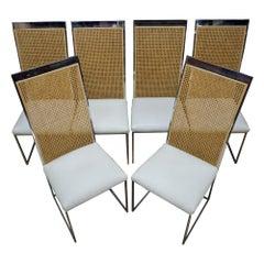 Six 1970s Milo Baughman High Back Cane Chrome Dining Chairs Postmodern Vintage