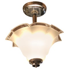 Art Deco Chandelier Murano Style Glass with Chrome Hardware