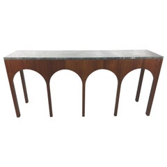 Rare Coliseum Console with Marble Top by T.H. Robsjohn-Gibbings