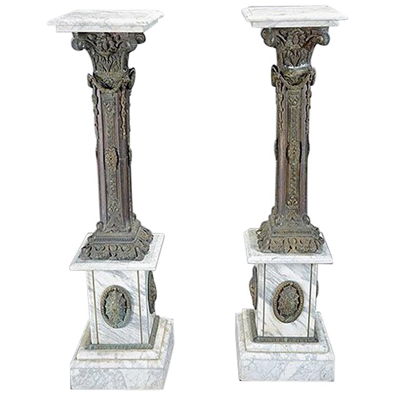 Pair of Italian Bronze and Marble Pedestals