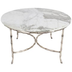 Italian Silver Plated Faux Bamboo Marble Top Coffee or Side Table