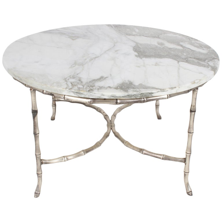 Italian Silver Plated Faux Bamboo Marble Top Coffee or Side Table For Sale