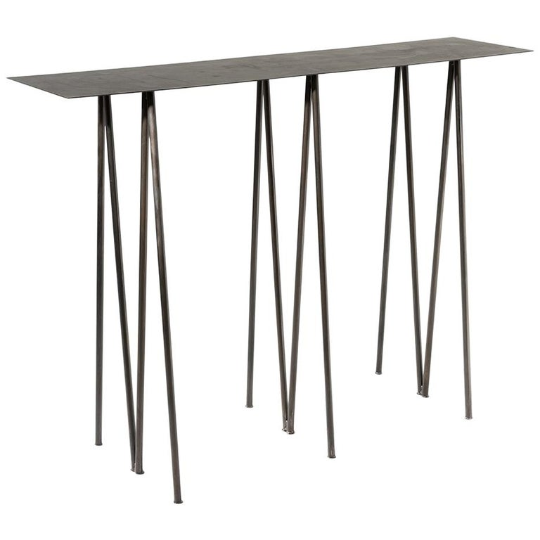 Paper Table L in Stained Black Steel Finish by UMÉ Studio For Sale
