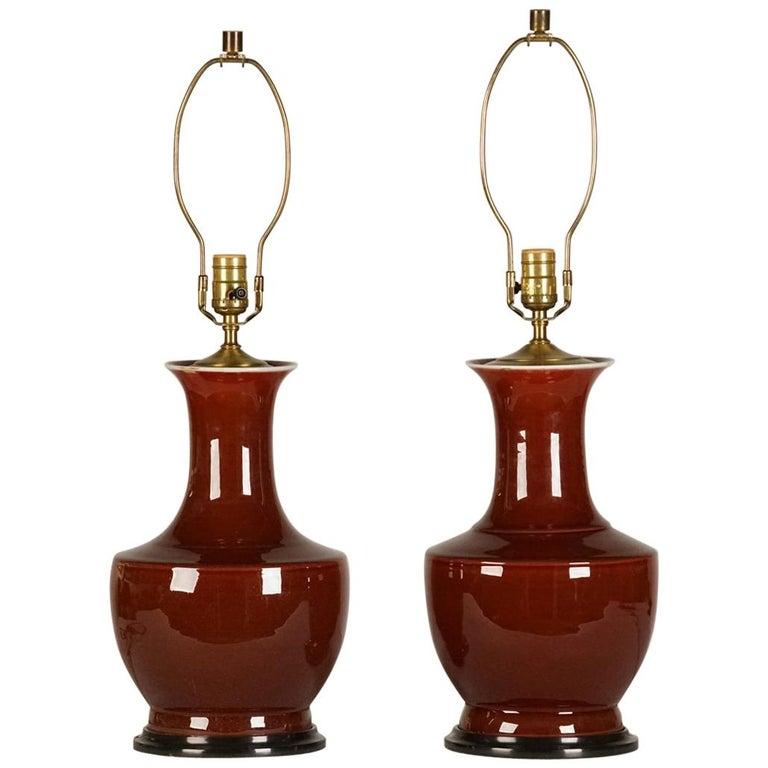 """Pair of """"Sang de Boeuf"""" Lamps For Sale"""