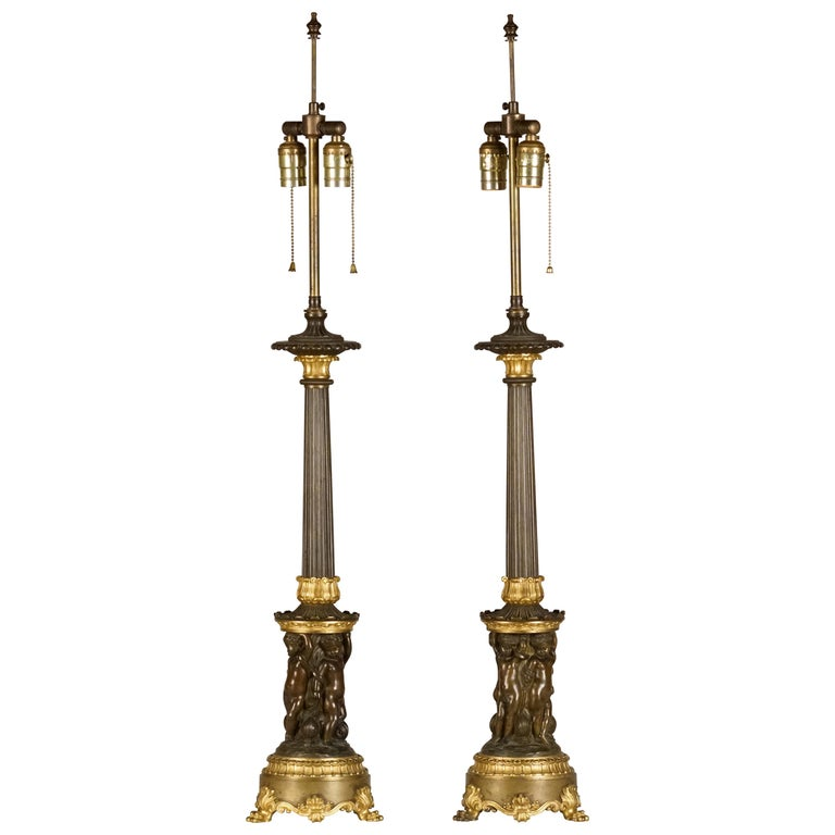 Fine Pair of Empire Patinated & Gilt Bronze Candelabre, Mounted as Lamps For Sale