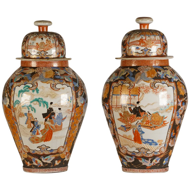 Pair of Large Porcelain Vases Kutani Period For Sale