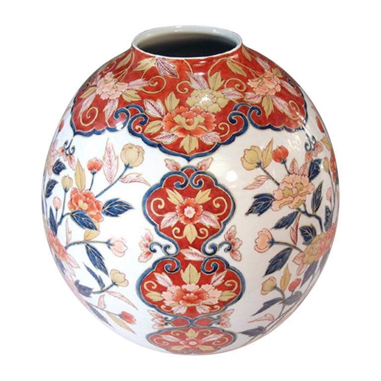 Large Contemporary Red Imari Porcelain Vase by Japanese Master Artist