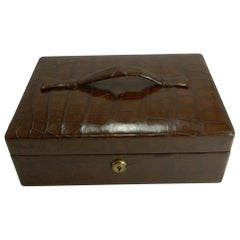 Handsome Antique, English Crocodile / Alligator Jewelry Box, circa 1900