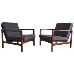 Midcentury Lounge Armchairs Set in Blue Linen, Zenon Bączyk, 1960s