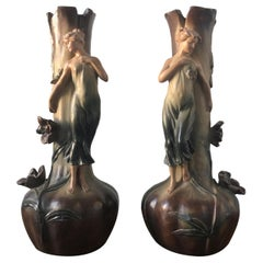 French Art Nouveau Pair of Large Terracotta Vases, circa 1910