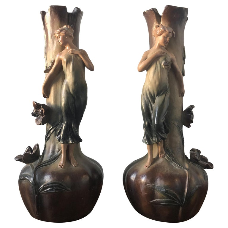 French Art Nouveau Pair of Large Terracotta Vases, circa 1910 For Sale