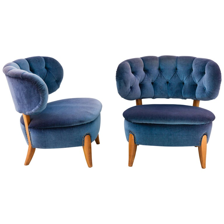 Pair of Blue Velvet Easy Chairs by Otto Schulz For Sale