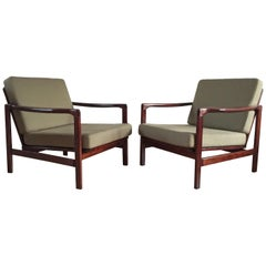 Midcentury Lounge Armchairs Set in Olive Linen, Zenon Bączyk, 1960s
