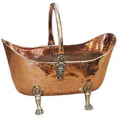 Victorian Hammered Copper and Brass Log Bucket