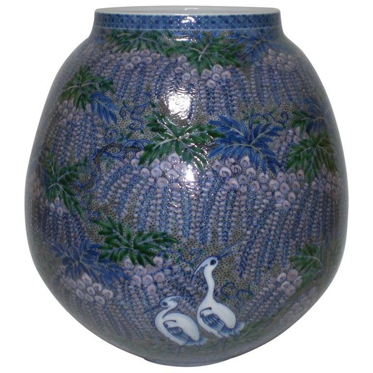 Large Japanese Imari Blue Decorative Porcelain Vase by Master Artist
