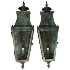 Pair of Wall Hanging Brass Lantern