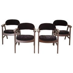 Set of Four 20th Century Buffalo Black Wood and Velvet Chairs, 1960s