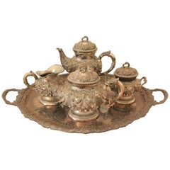 Italian 800 Silver Tea and Coffee Service by Alessandro Ceni