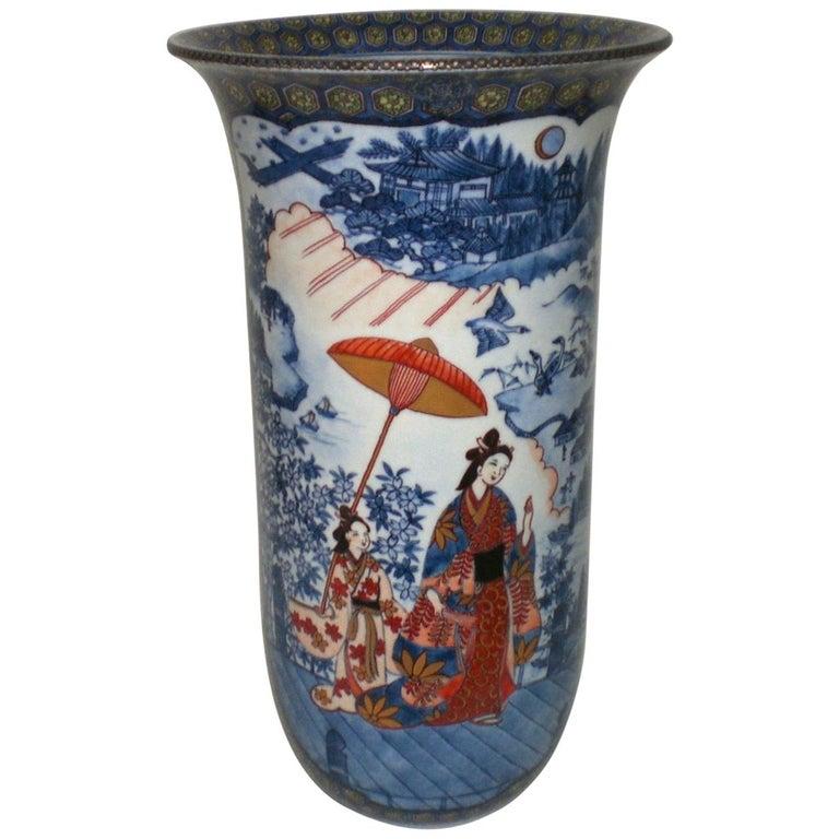 Large Imari Blue Red Porcelain Vase by Japanese Master Artist, circa 2000
