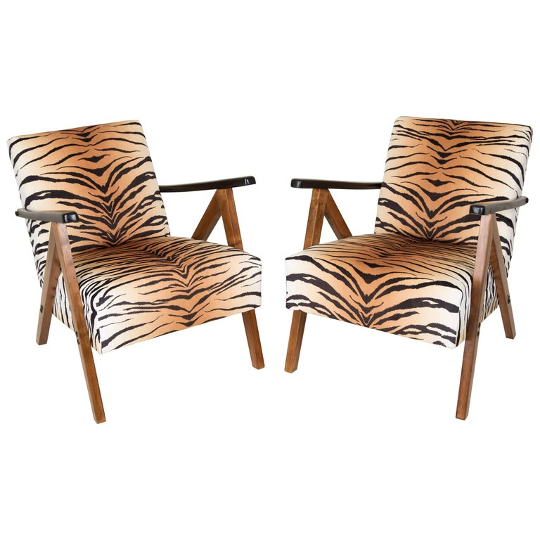 Set of Two Mid-Century Modern Tiger Print Armchairs, 1960s, Germany For Sale