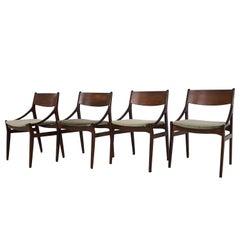 Dining Chairs by Vestervig Erikson for Brdr Tromborg Lystrup, Denmark, 1960s