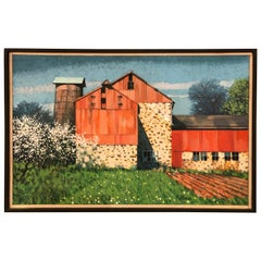 Post Impressionist Painting of Barn by Listed Bucks Country Artist John Foster
